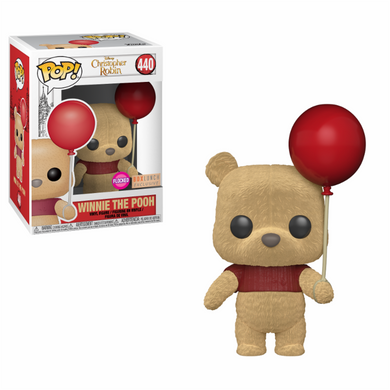 Movies The Christopher Robin Movie Pooh with Red Balloon FLOCKED Funko POP
