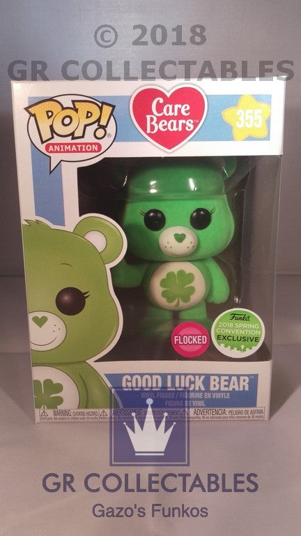 Animation Care Bears Good Luck Bear Flocked 2018 Spring Convention Exclusive Funko POP