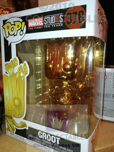 Marvel Studio The First 10 Years Groot Chrome Funko POP