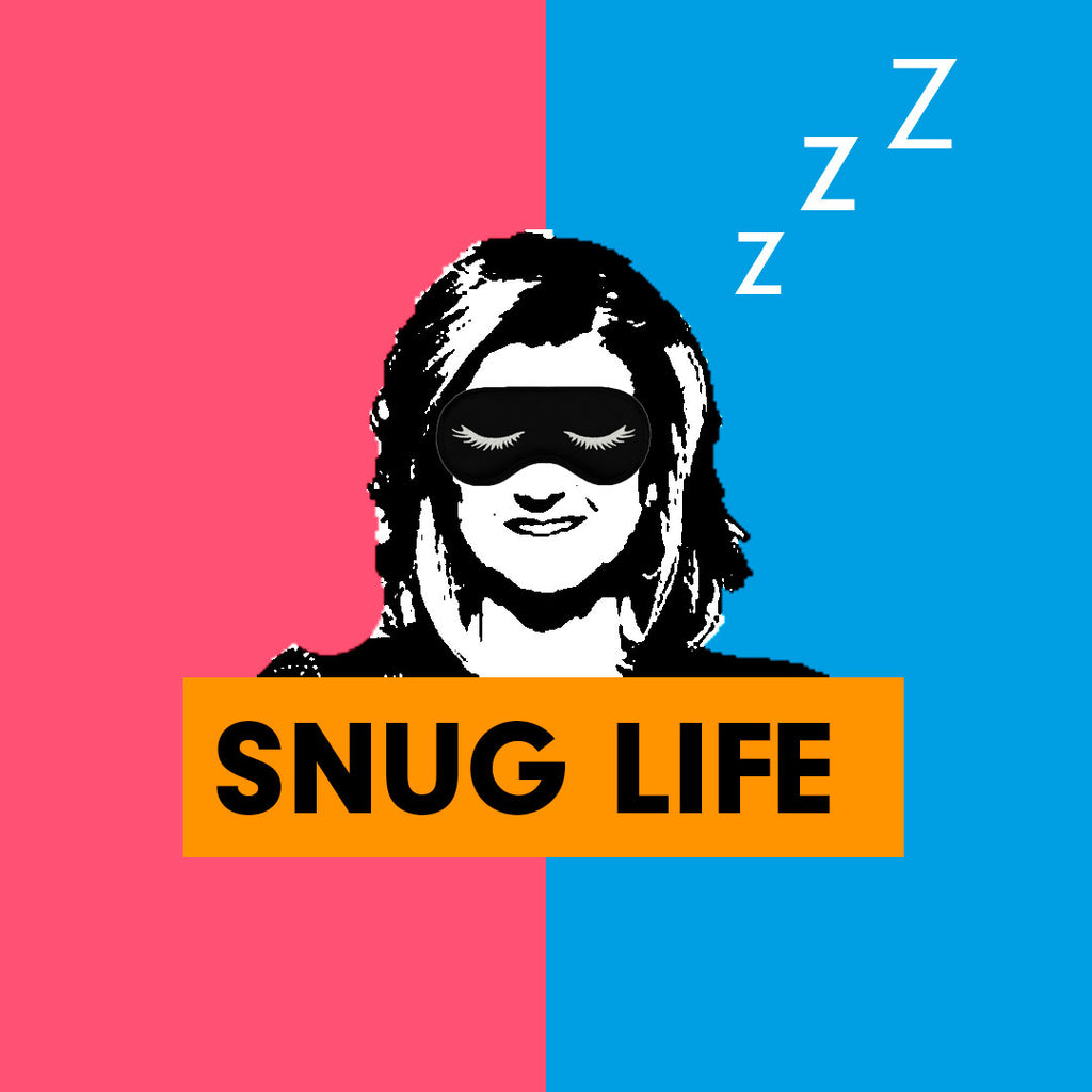 Arianna Huffington wearing sleeping mask snug life graphic