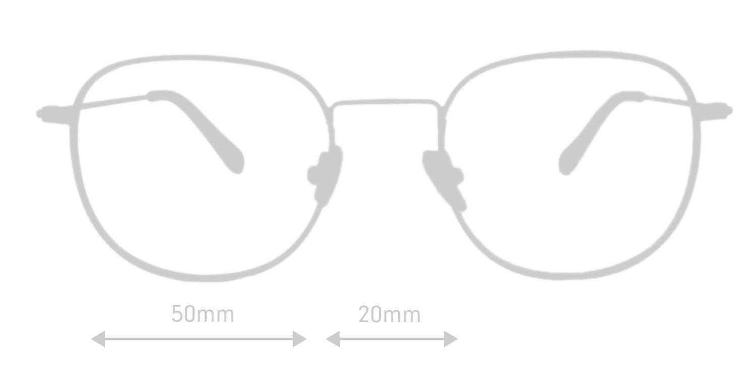 LUMES Bennett computer glasses silhouette with measurements from front angle