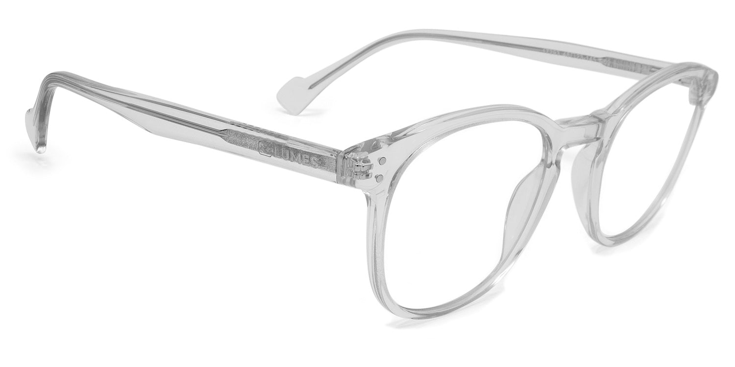 LUMES stylish blue blocking computer glasses - Danvers model in transparent color from angle
