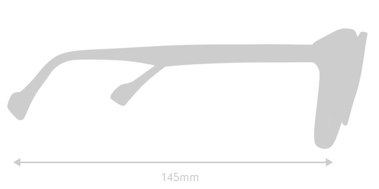 LUMES Danvers computer glasses silhouette with measurements from side angle