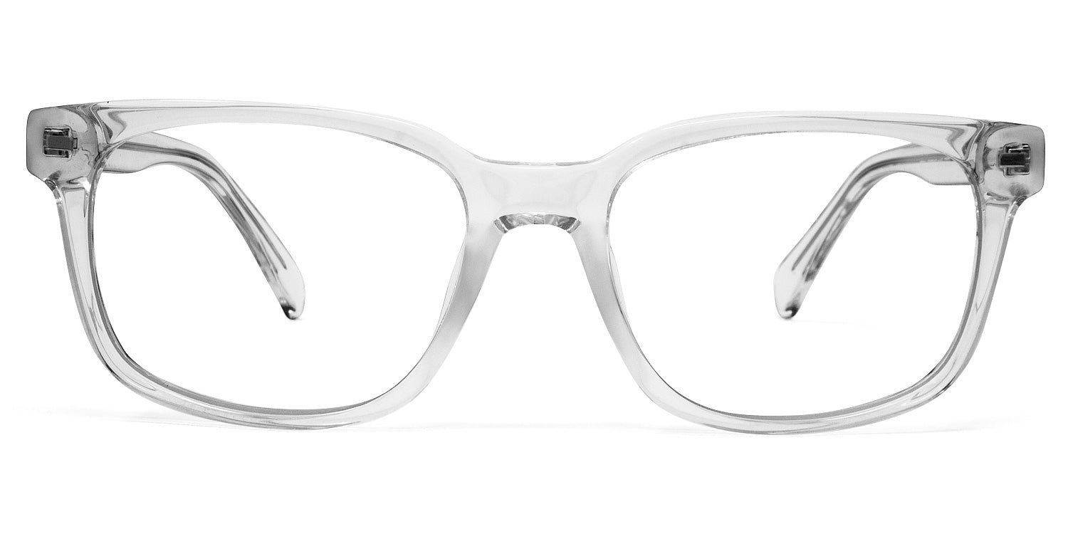 LUMES Kent model from front angle transparent stylish blue light blocking computer glasses