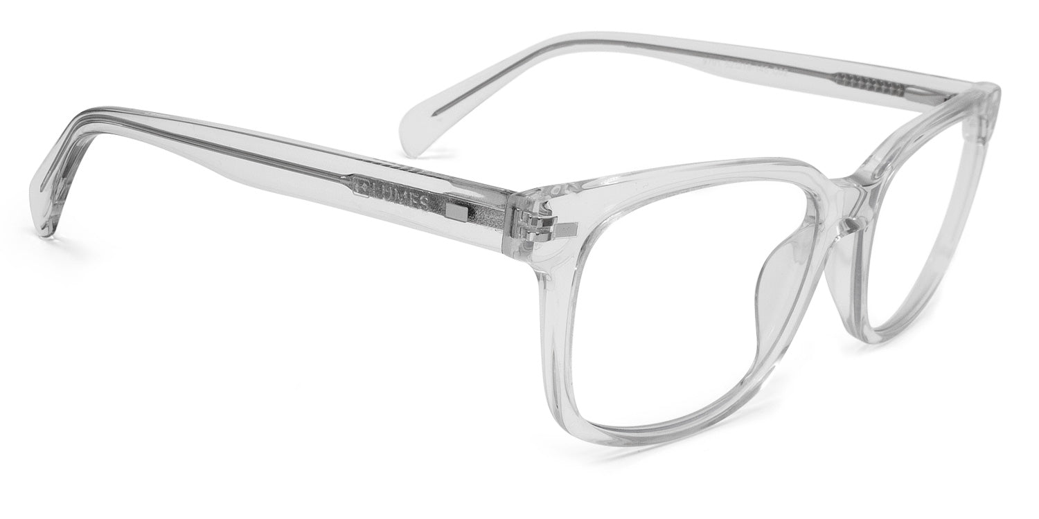 LUMES Kent model from top angle transparent stylish blue light blocking computer glasses