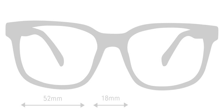 LUMES Kent black computer glasses silhouette with measurements from side angle