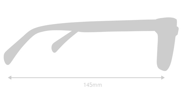 LUMES Kent computer glasses silhouette with measurements from side angle