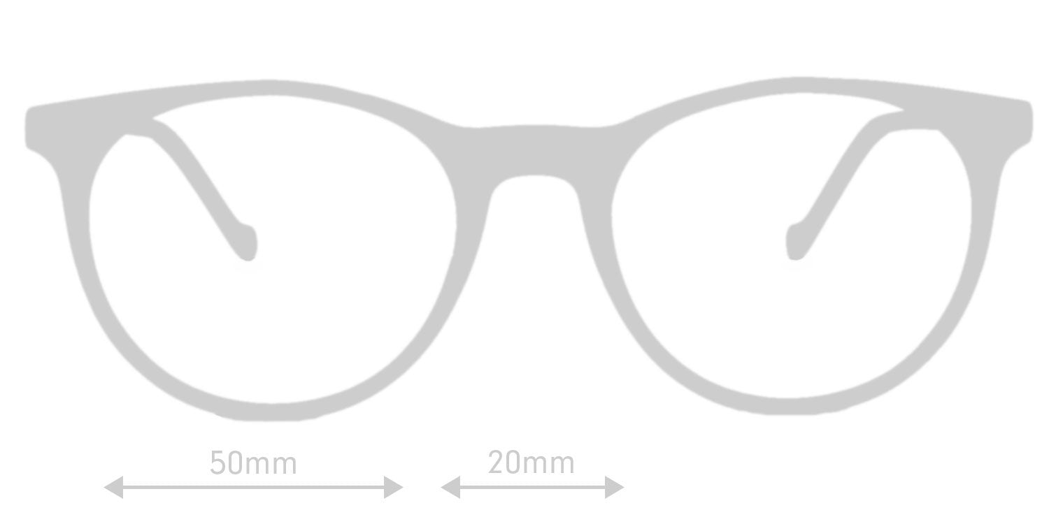 LUMES Mayfield computer glasses silhouette with measurements from front angle