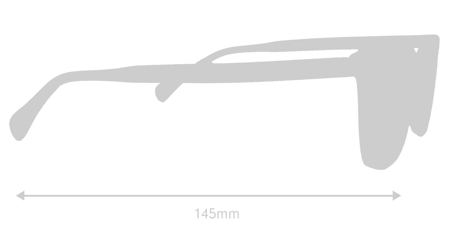 LUMES Palmer bio-acetate computer glasses silhouette with measurements from side angle