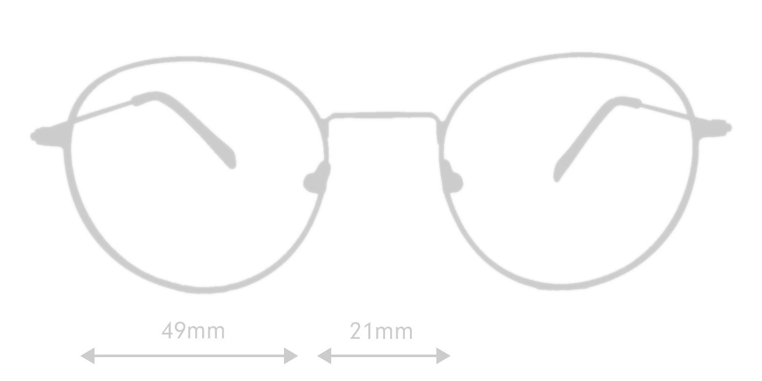 LUMES Parker computer glasses silhouette with measurements from front angle