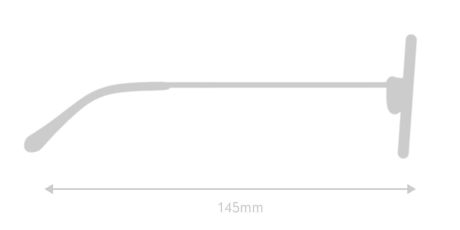 LUMES Parker computer glasses silhouette with measurements from side angle