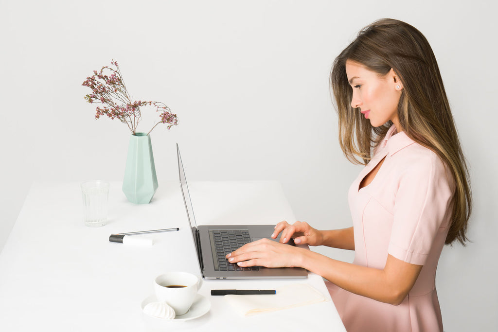 Woman using computer screen cyber sickness