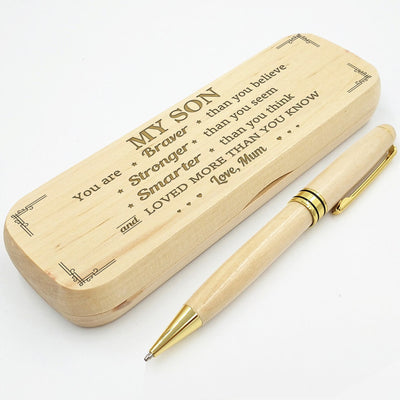 SON MUM - LOVED MORE THAN YOU KNOW - ENGRAVED WOOD PEN CASE