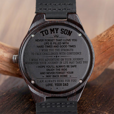 SON DAD - ON YOUR JOURNEY - WOOD WATCH
