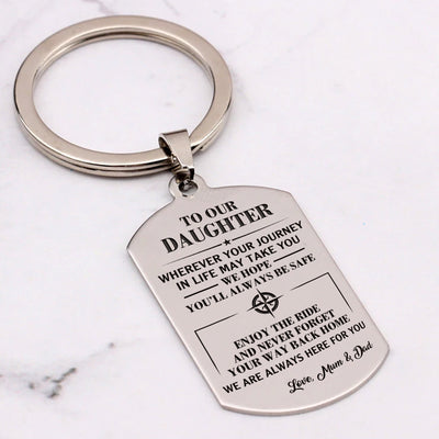 DAUGHTER MOM & DAD - ALWAYS BE SAFE - KEY CHAIN 1