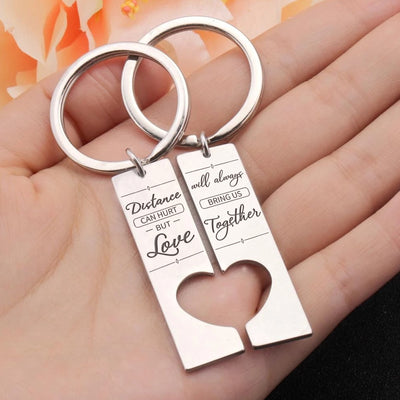 DISTANCE AND LOVE - COUPLE KEY CHAIN