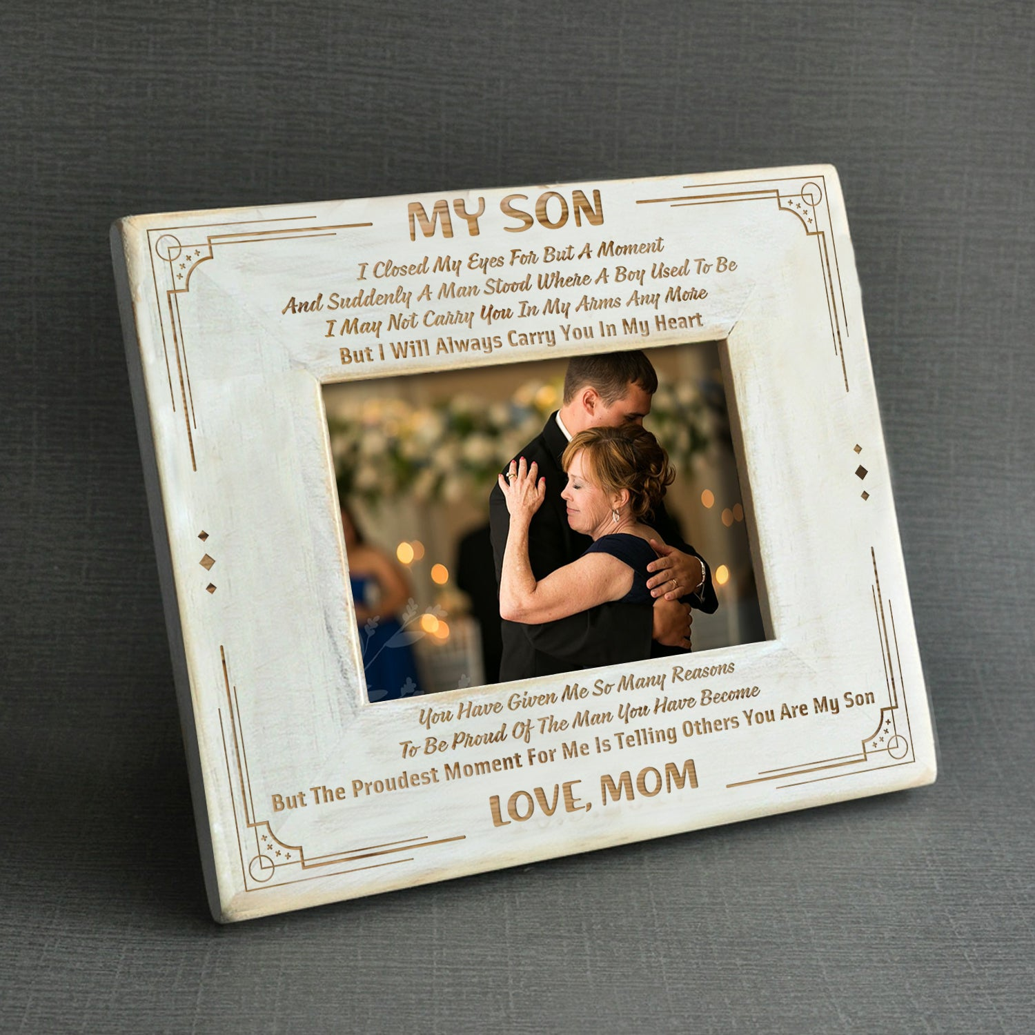 Son Mom I Will Always Carry You In My Heart Wood Frame