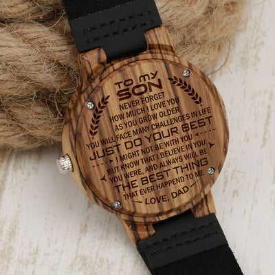 SON DAD - THE BEST THING - ZEBRA WOOD WATCH