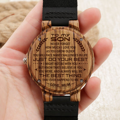 SON MUM - THE BEST THING - ZEBRA WOOD WATCH