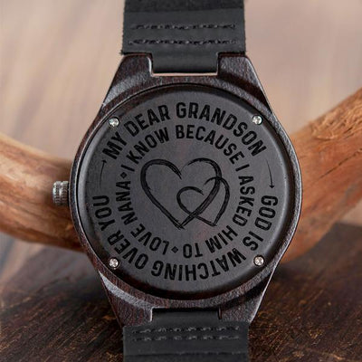 GRANDSON NANA - GOD IS WATCHING OVER YOU - WOOD WATCH