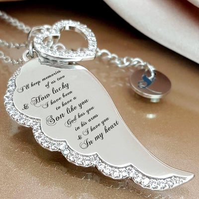 IN MEMORY OF SON - I HAVE YOU IN MY HEART - ANGEL WING NECKLACE