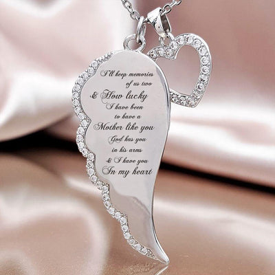 IN MEMORY OF MOTHER - I HAVE YOU IN MY HEART - ANGEL WING NECKLACE