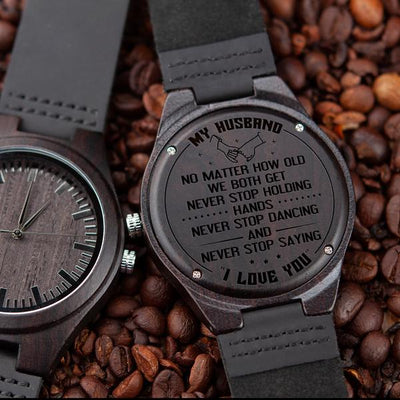 HUSBAND WIFE - NEVER STOP SAYING - WOOD WATCH