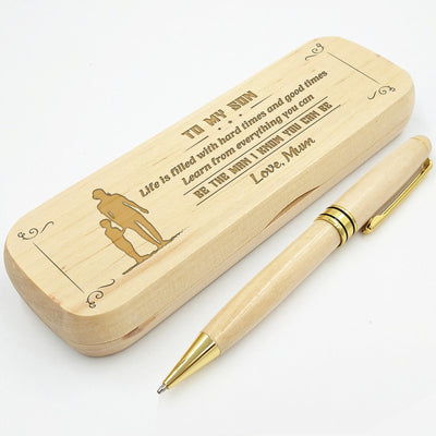 SON MUM - BE THE MAN I KNOW YOU CAN BE - ENGRAVED WOOD PEN CASE
