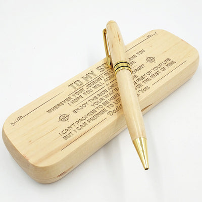 SON DADDY - ALWAYS BE SAFE - ENGRAVED WOOD PEN CASE