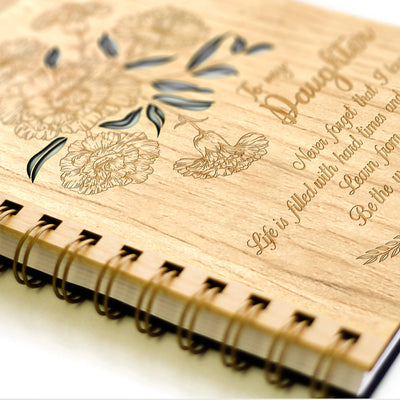 DAUGHTER MOM - NEVER FORGET - LASER CUT WOOD JOURNAL