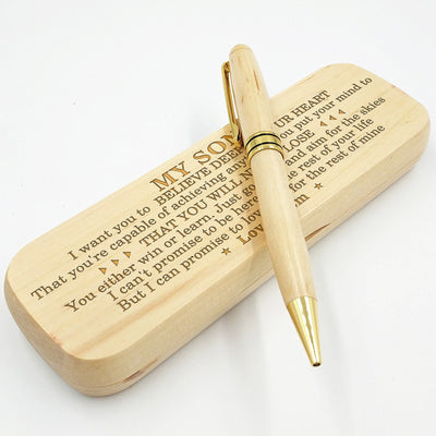 SON MOM - BELIEVE DEEP IN YOUR HEART - ENGRAVED WOOD PEN CASE