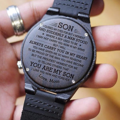 SON MOM - PROUDEST MOMENT - WOOD WATCH