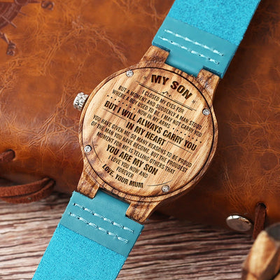 SON MUM - CARRY YOU IN MY HEART - BLUE WOOD WATCH