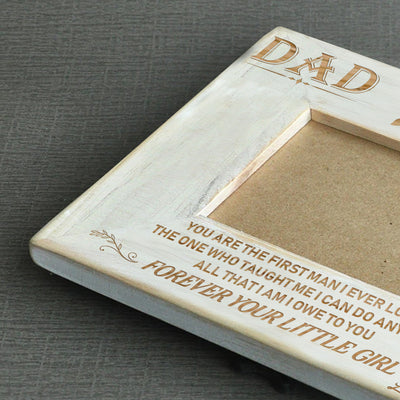DAD DAUGHTER - THE FIRST MAN - WOOD FRAME