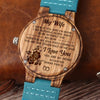 WIFE HUSBAND - YOU ARE MY HOME - BLUE WOOD WATCH