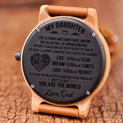 DAUGHTER DAD - FULL OF OPPORTUNITIES - WOOD WATCH