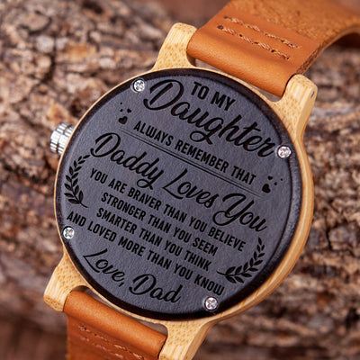 DAUGHTER DAD - ALWAYS REMEMBER 2 - WOOD WATCH