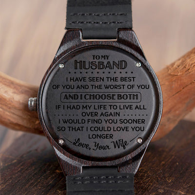 HUSBAND WIFE - I CHOOSE BOTH - WOOD WATCH