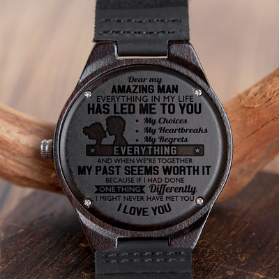 HUSBAND - AMAZING MAN - WOOD WATCH