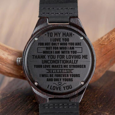 HUSBAND - UNCONDITIONALLY - WOOD WATCH