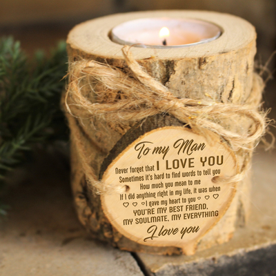 MY MAN - I LOVE YOU - CANDLE HOLDER