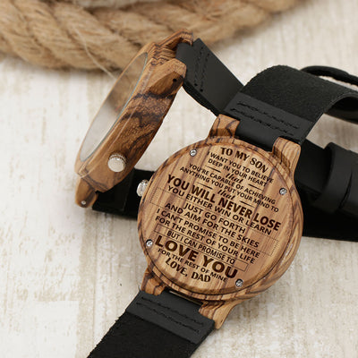 SON DAD - NEVER LOSE - BROWN WOOD WATCH