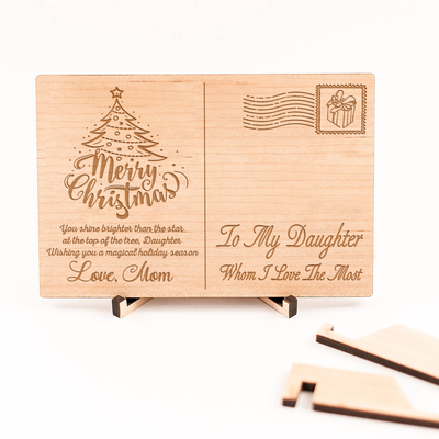 DAUGHTER MOM - BRIGHTER THAN THE STAR - WOODEN CHRISTMAS POSTCARD