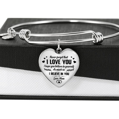 DAUGHTER MOM - I BELIEVE IN YOU - LUXURY HEART BANGLE