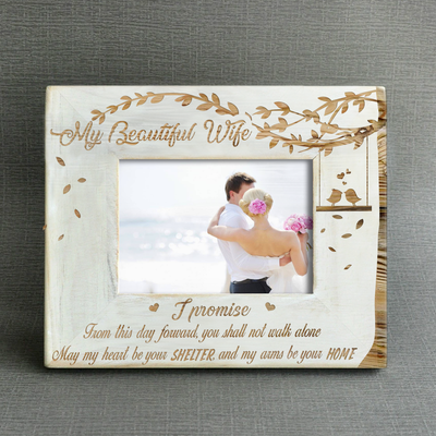 WIFE HUSBAND - I PROMISE - WOOD FRAME