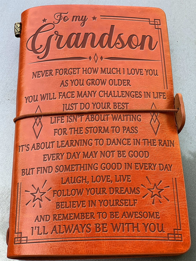 TO GRANDSON - NEVER FORGET HOW MUCH I LOVE YOU - VINTAGE JOURNAL