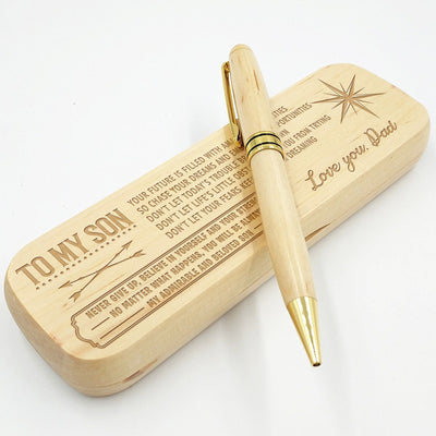 SON DAD - CHASE YOUR DREAMS - ENGRAVED  WOOD PEN CASE