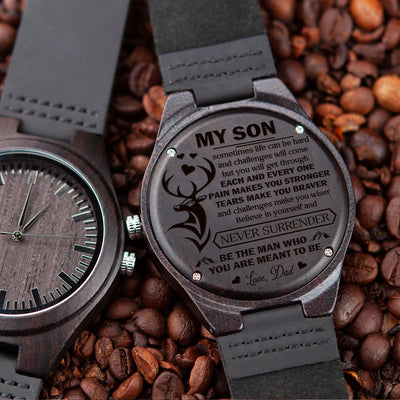 SON DAD - NEVER SURRENDER - WOOD WATCH