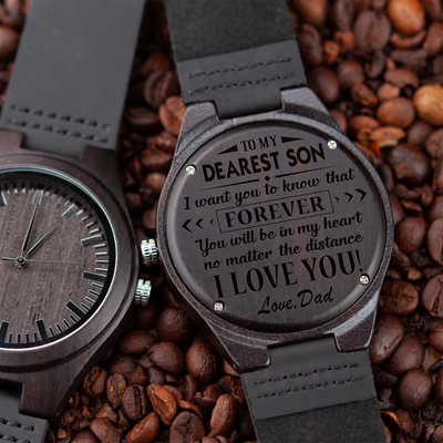 SON DAD - NO MATTER THE DISTANCE - WOOD WATCH