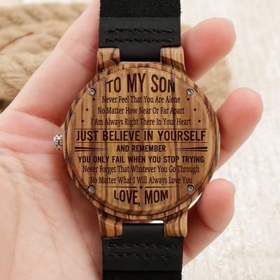 SON MOM - JUST BELIEVE IN YOURSELF - BROWN WOOD WATCH